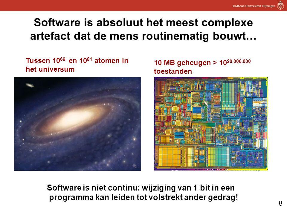 8 Software is absoluut het meest complexe artefact dat de mens routinematig bouwt… Tussen 10 69 en 10 81 atomen in het universum 10 MB geheugen > 10 20.000.000 toestanden Software is niet continu: wijziging van 1 bit in een programma kan leiden tot volstrekt ander gedrag!