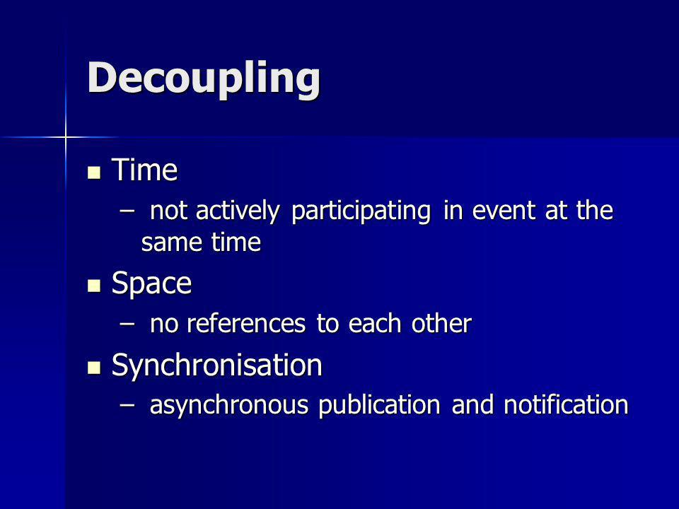 Decoupling Time Time – not actively participating in event at the same time Space Space – no references to each other Synchronisation Synchronisation – asynchronous publication and notification