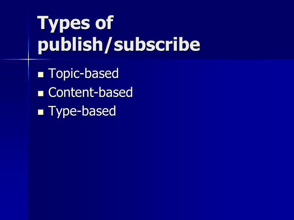 Types of publish/subscribe Topic-based Topic-based Content-based Content-based Type-based Type-based