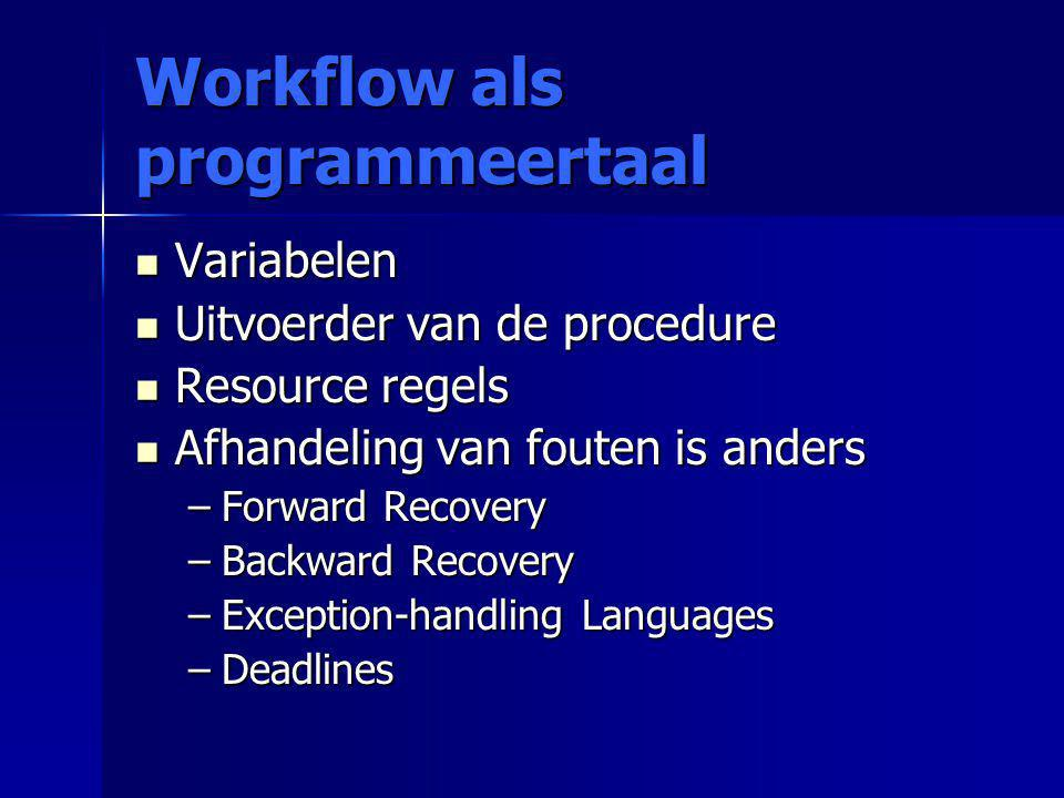 Workflow als programmeertaal Variabelen Variabelen Uitvoerder van de procedure Uitvoerder van de procedure Resource regels Resource regels Afhandeling van fouten is anders Afhandeling van fouten is anders –Forward Recovery –Backward Recovery –Exception-handling Languages –Deadlines