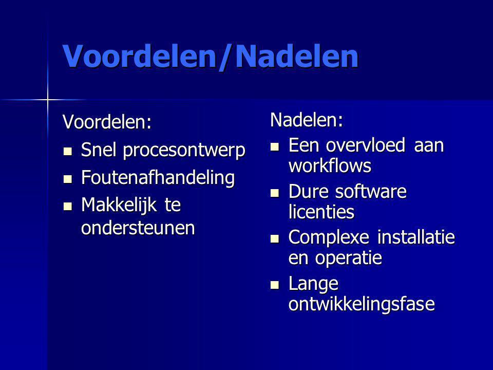 Voordelen/Nadelen Voordelen: Snel procesontwerp Snel procesontwerp Foutenafhandeling Foutenafhandeling Makkelijk te ondersteunen Makkelijk te onderste