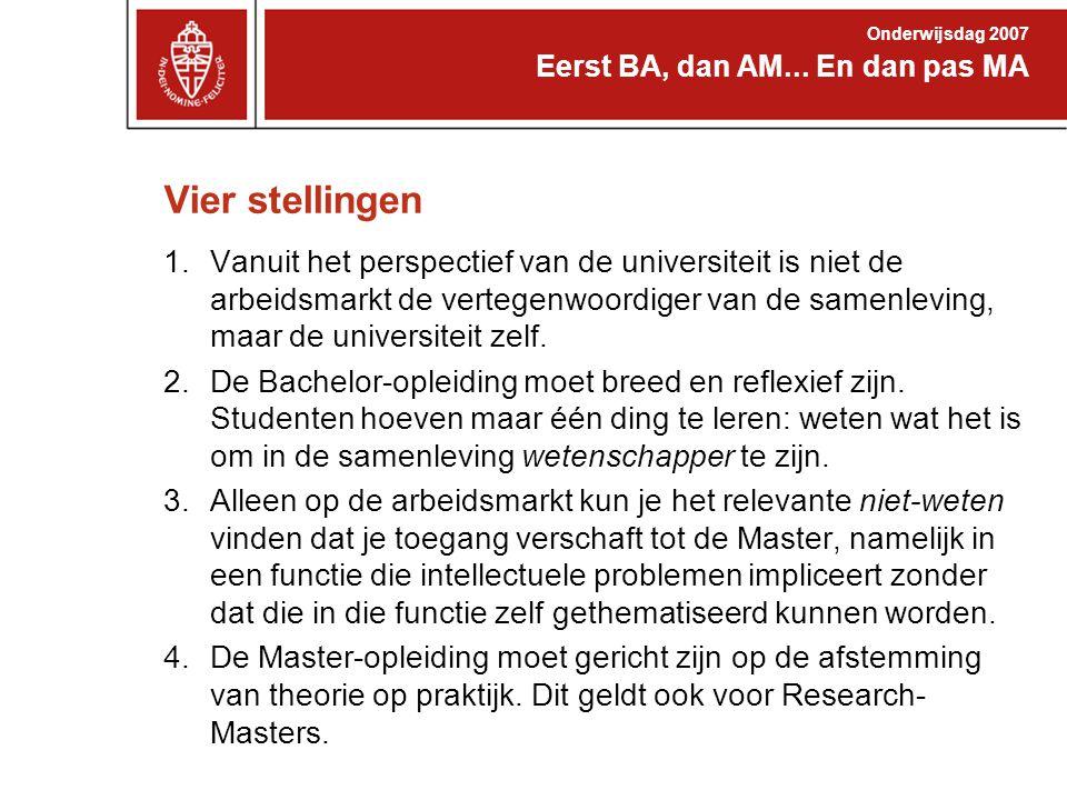 Vier stellingen 1.Vanuit het perspectief van de universiteit is niet de arbeidsmarkt de vertegenwoordiger van de samenleving, maar de universiteit zel
