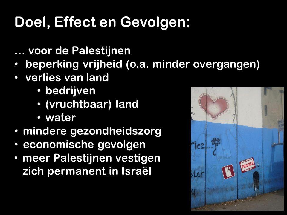 Doel, Effect en Gevolgen: … voor de Palestijnen beperking vrijheid (o.a.