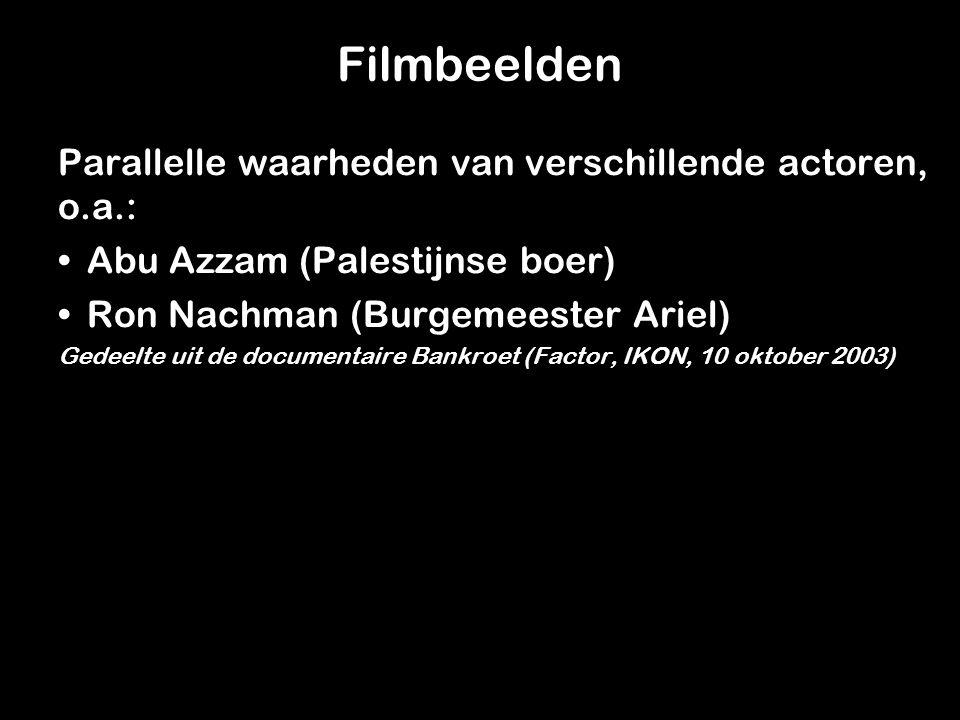 Filmbeelden Parallelle waarheden van verschillende actoren, o.a.: Abu Azzam (Palestijnse boer)Abu Azzam (Palestijnse boer) Ron Nachman (Burgemeester Ariel)Ron Nachman (Burgemeester Ariel) Gedeelte uit de documentaire Bankroet (Factor, IKON, 10 oktober 2003)