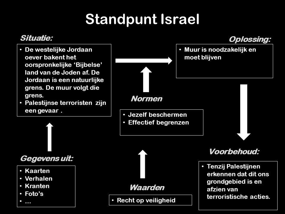 Standpunt Israel De westelijke Jordaan oever bakent het oorspronkelijke 'Bijbelse' land van de Joden af.