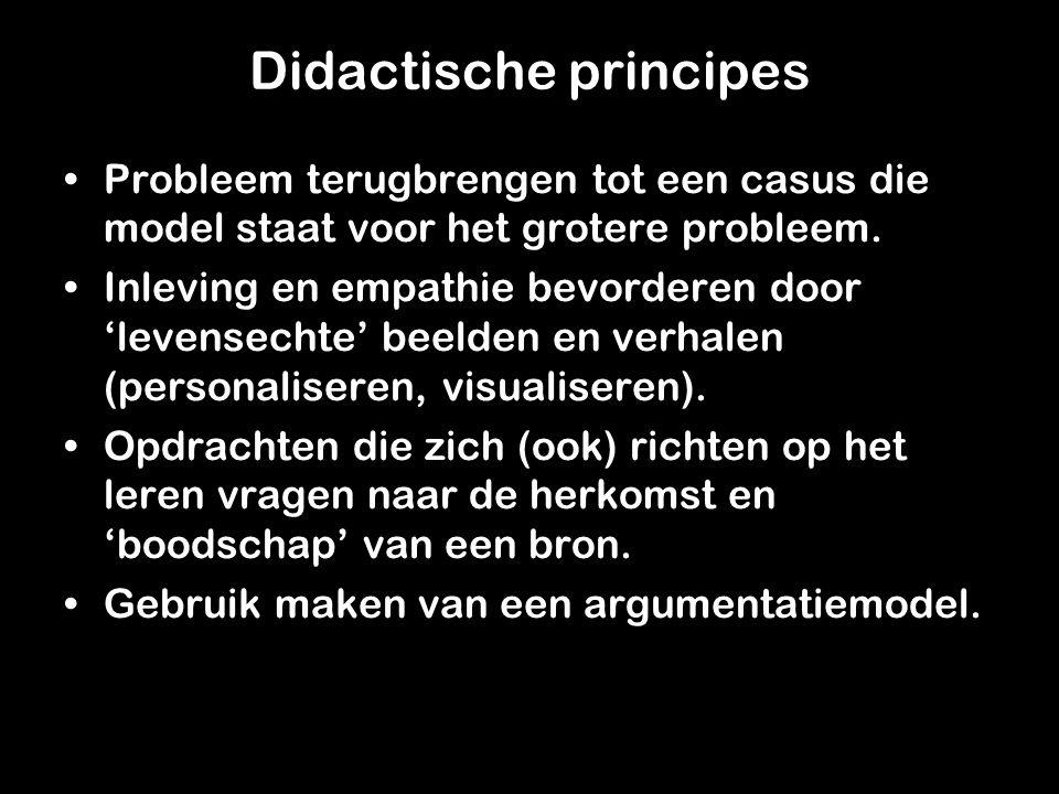Didactische principes Probleem terugbrengen tot een casus die model staat voor het grotere probleem.