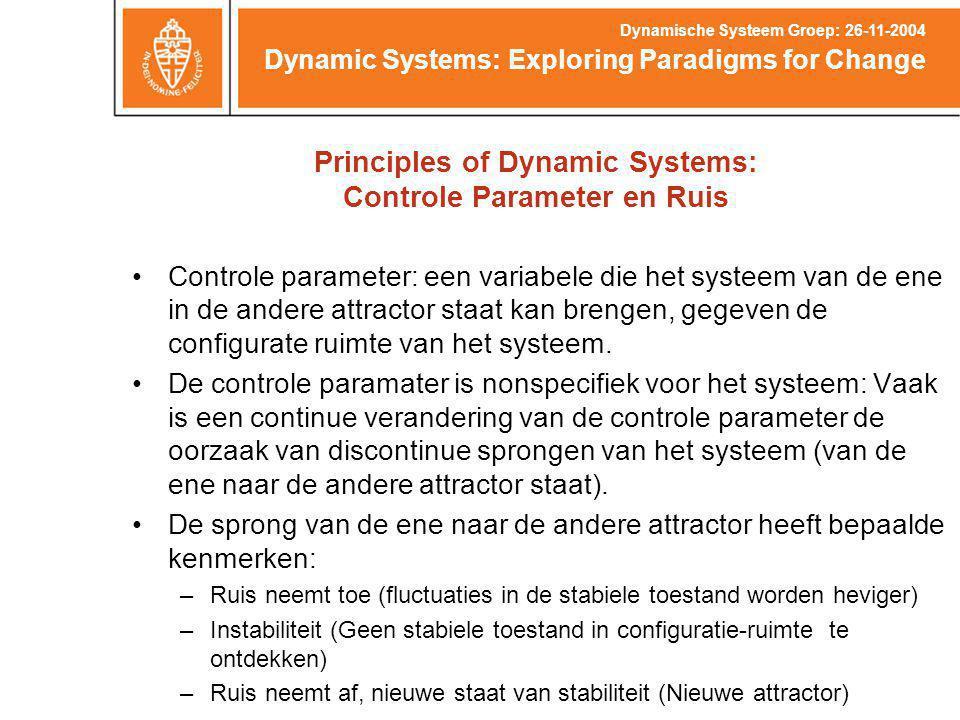 Controle parameter: een variabele die het systeem van de ene in de andere attractor staat kan brengen, gegeven de configurate ruimte van het systeem.