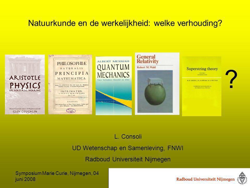 Symposium Marie Curie, Nijmegen, 04 juni 2008 Natuurkunde en de werkelijkheid: welke verhouding.