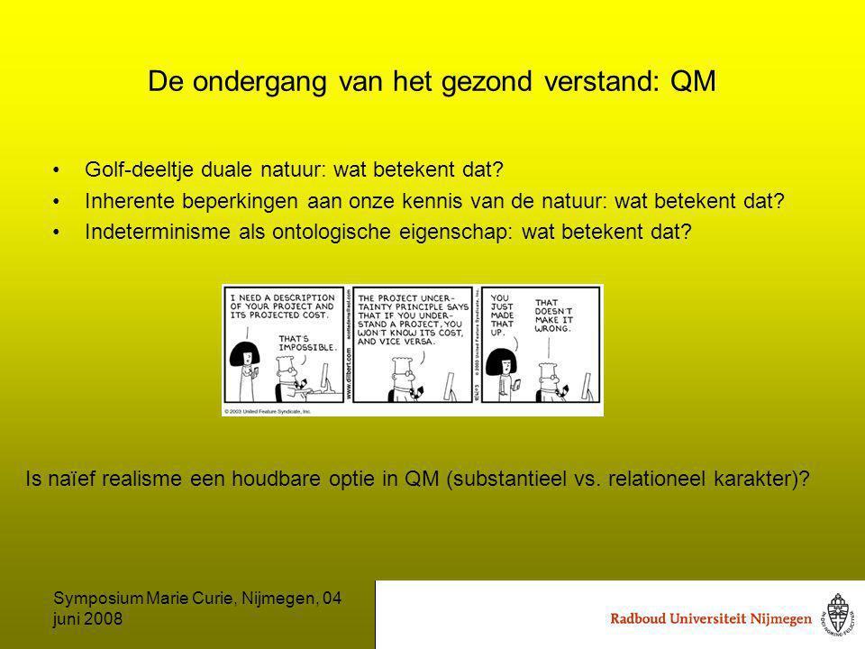 Symposium Marie Curie, Nijmegen, 04 juni 2008 De ondergang van het gezond verstand: QM Golf-deeltje duale natuur: wat betekent dat.