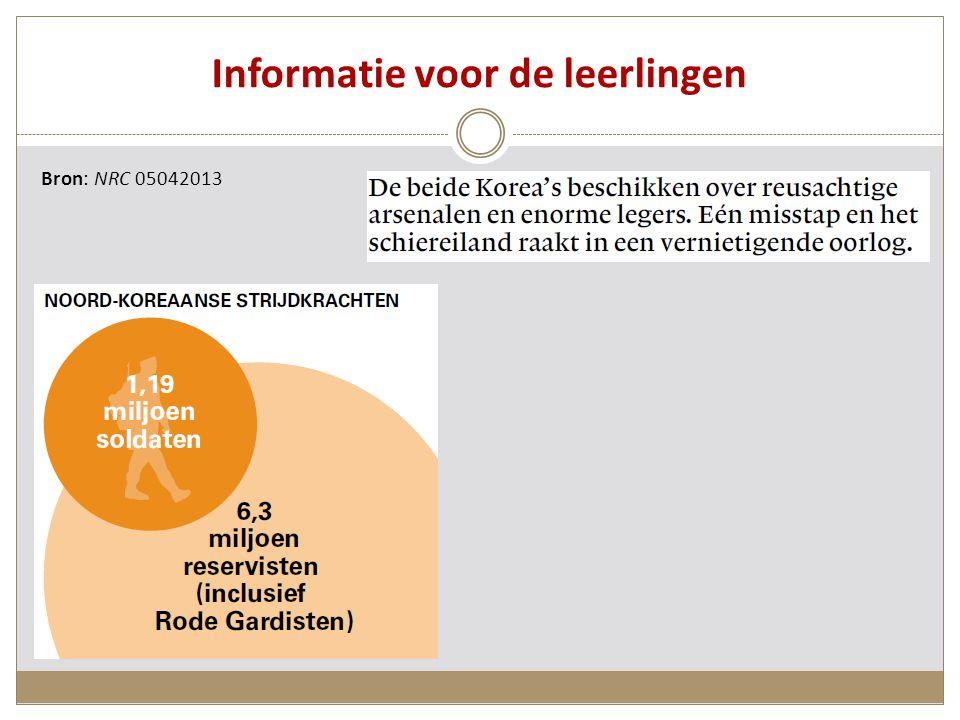 Informatie voor de leerlingen Bron: NRC 05042013