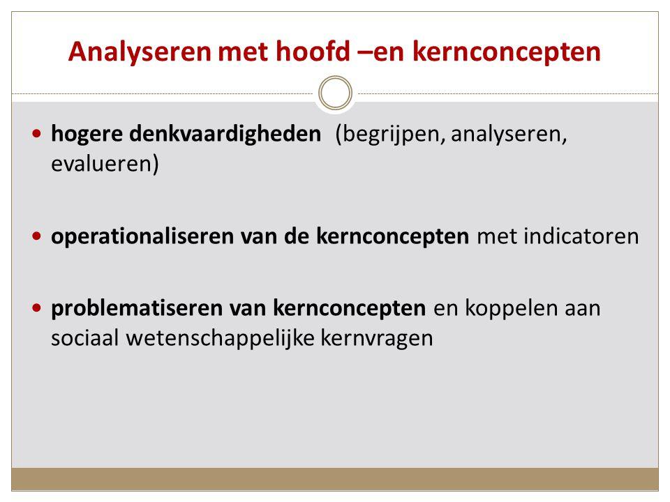 Analyseren met hoofd –en kernconcepten hogere denkvaardigheden (begrijpen, analyseren, evalueren) operationaliseren van de kernconcepten met indicatoren problematiseren van kernconcepten en koppelen aan sociaal wetenschappelijke kernvragen