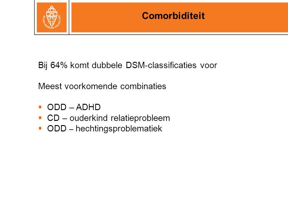 Comorbiditeit Bij 64% komt dubbele DSM-classificaties voor Meest voorkomende combinaties  ODD – ADHD  CD – ouderkind relatieprobleem  ODD – hechtin