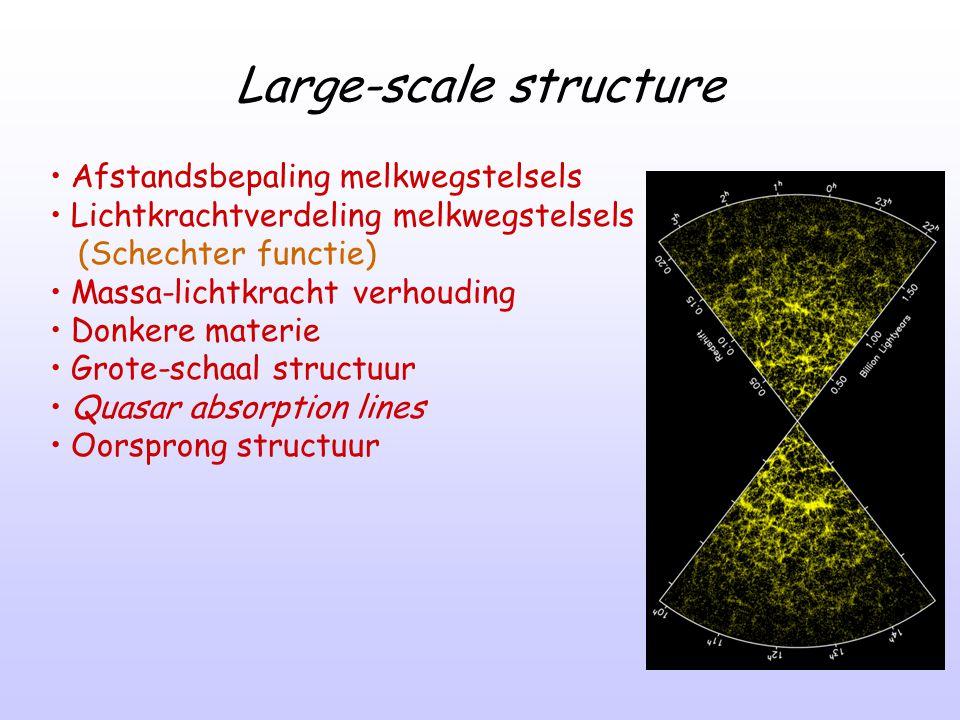 Large-scale structure Afstandsbepaling melkwegstelsels Lichtkrachtverdeling melkwegstelsels (Schechter functie) Massa-lichtkracht verhouding Donkere m