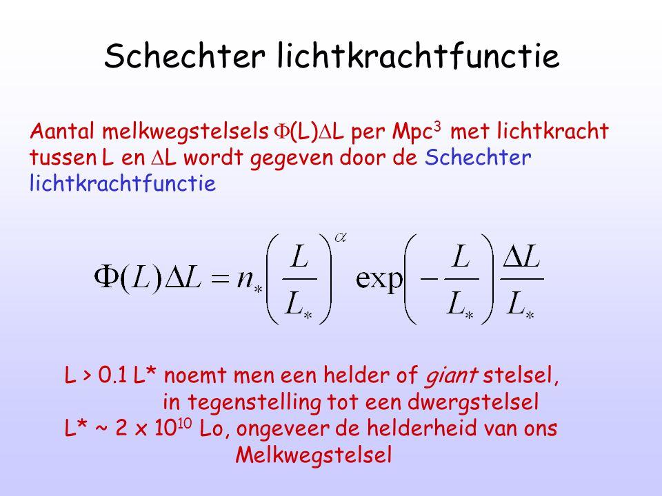 Schechter lichtkrachtfunctie Aantal melkwegstelsels  (L)  L per Mpc 3 met lichtkracht tussen L en  L wordt gegeven door de Schechter lichtkrachtfun