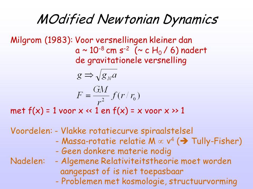 MOdified Newtonian Dynamics Milgrom (1983): Voor versnellingen kleiner dan a ~ 10 -8 cm s -2 (~ c H 0 / 6) nadert de gravitationele versnelling met f(