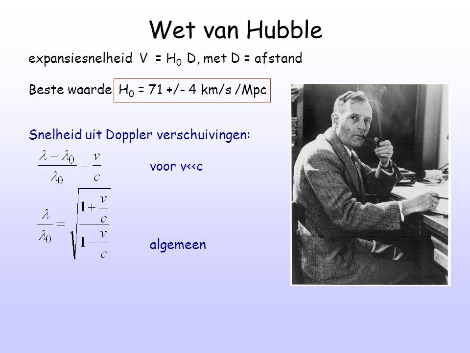 Wet van Hubble expansiesnelheid V = H 0 D, met D = afstand Beste waarde H 0 = 71 +/- 4 km/s /Mpc Snelheid uit Doppler verschuivingen: voor v<<c algeme