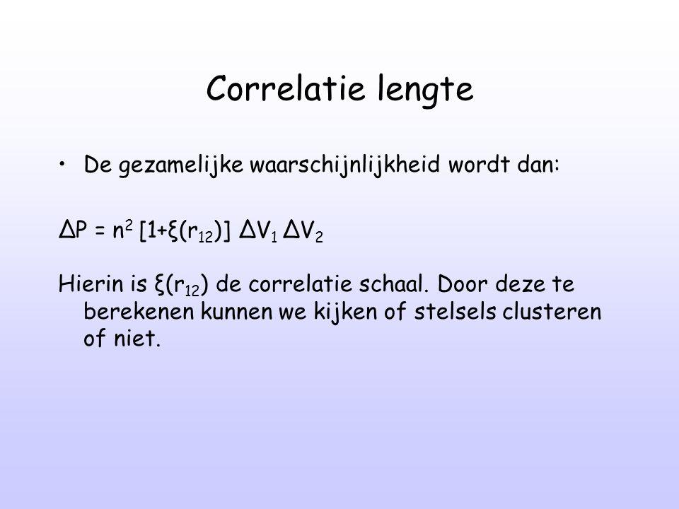 Correlatie lengte De gezamelijke waarschijnlijkheid wordt dan: ∆P = n 2 [1+ξ(r 12 )] ∆V 1 ∆V 2 Hierin is ξ(r 12 ) de correlatie schaal. Door deze te b