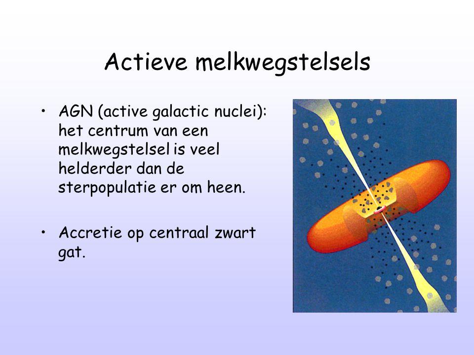 Actieve melkwegstelsels AGN (active galactic nuclei): het centrum van een melkwegstelsel is veel helderder dan de sterpopulatie er om heen. Accretie o