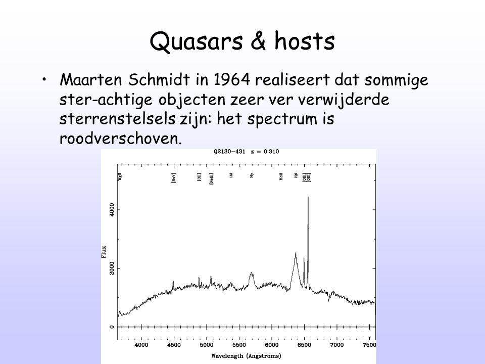 Quasars & hosts Maarten Schmidt in 1964 realiseert dat sommige ster-achtige objecten zeer ver verwijderde sterrenstelsels zijn: het spectrum is roodve