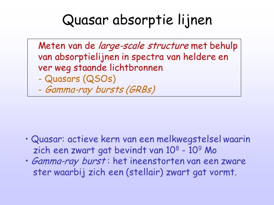 Quasar absorptie lijnen Meten van de large-scale structure met behulp van absorptielijnen in spectra van heldere en ver weg staande lichtbronnen - Qua