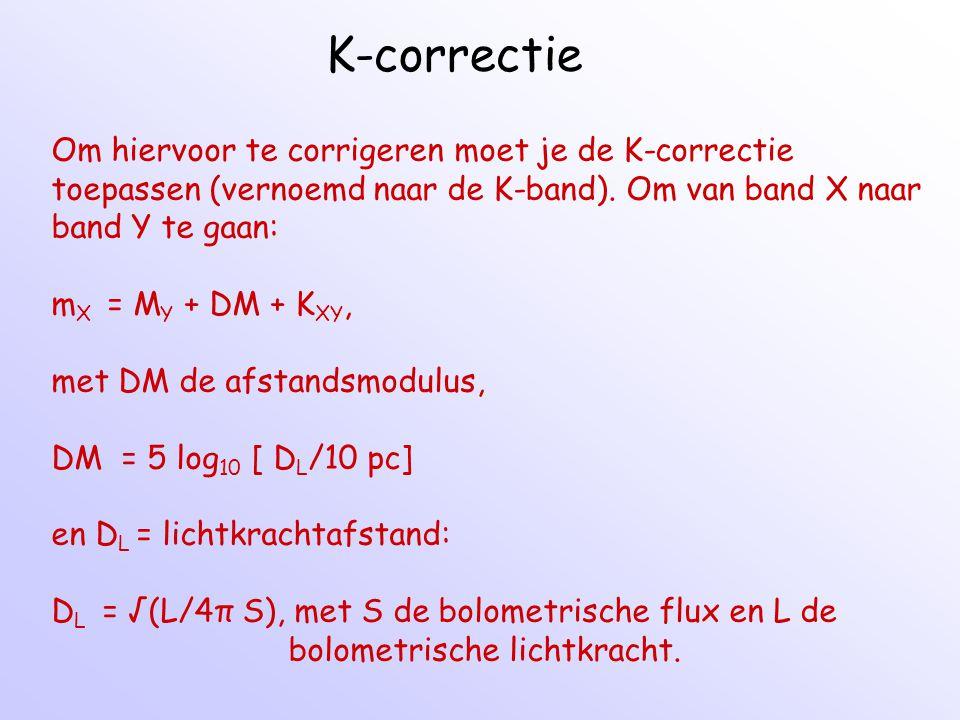 K-correctie Om hiervoor te corrigeren moet je de K-correctie toepassen (vernoemd naar de K-band). Om van band X naar band Y te gaan: m X = M Y + DM +