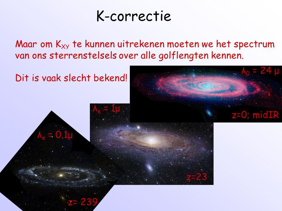 K-correctie Maar om K XY te kunnen uitrekenen moeten we het spectrum van ons sterrenstelsels over alle golflengten kennen. Dit is vaak slecht bekend!