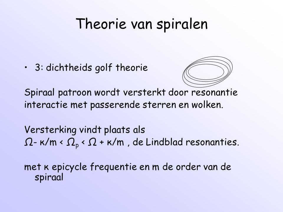 Theorie van spiralen 3: dichtheids golf theorie Spiraal patroon wordt versterkt door resonantie interactie met passerende sterren en wolken. Versterki