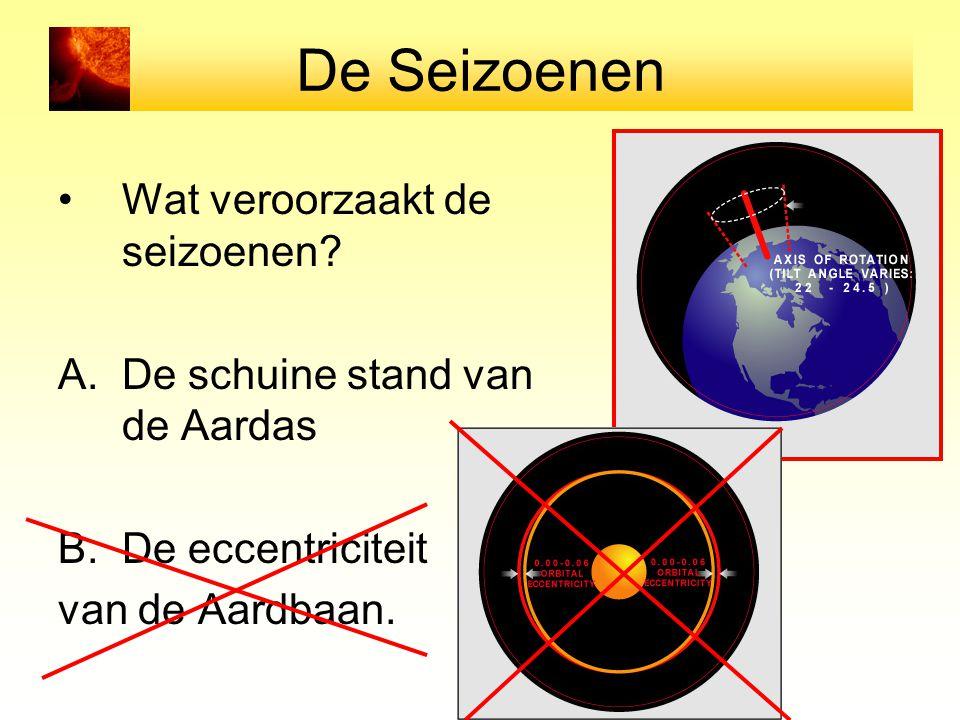 De Seizoenen Wat veroorzaakt de seizoenen? A.De schuine stand van de Aardas B.De eccentriciteit van de Aardbaan.