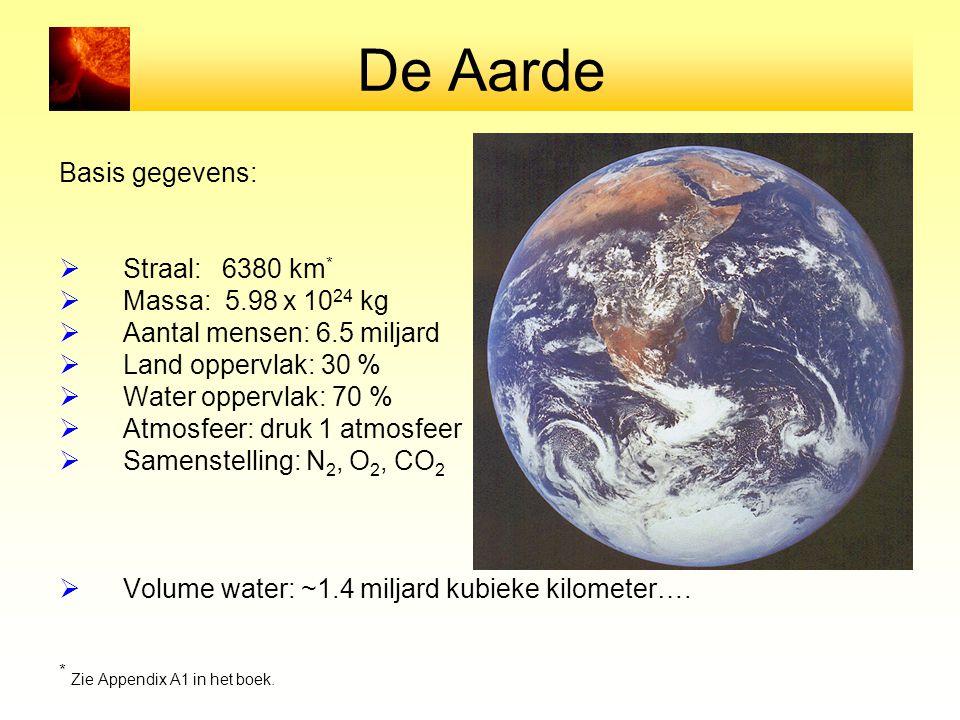 De Aarde Basis gegevens:  Straal: 6380 km *  Massa: 5.98 x 10 24 kg  Aantal mensen: 6.5 miljard  Land oppervlak: 30 %  Water oppervlak: 70 %  Atmosfeer: druk 1 atmosfeer  Samenstelling: N 2, O 2, CO 2  Volume water: ~1.4 miljard kubieke kilometer….