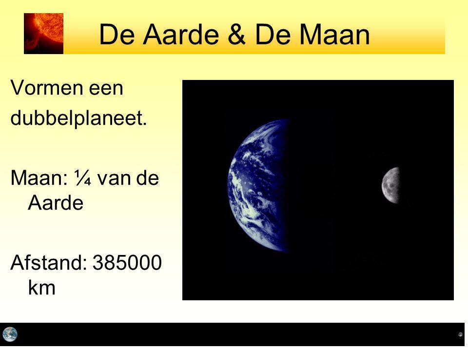 De Aarde & De Maan Vormen een dubbelplaneet. Maan: ¼ van de Aarde Afstand: 385000 km