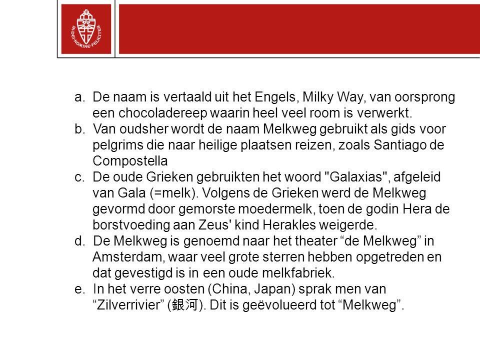 a.De naam is vertaald uit het Engels, Milky Way, van oorsprong een chocoladereep waarin heel veel room is verwerkt.