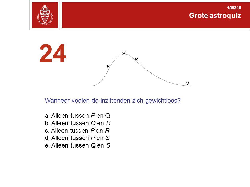 Grote astroquiz 180310 24 Q P R S Wanneer voelen de inzittenden zich gewichtloos.