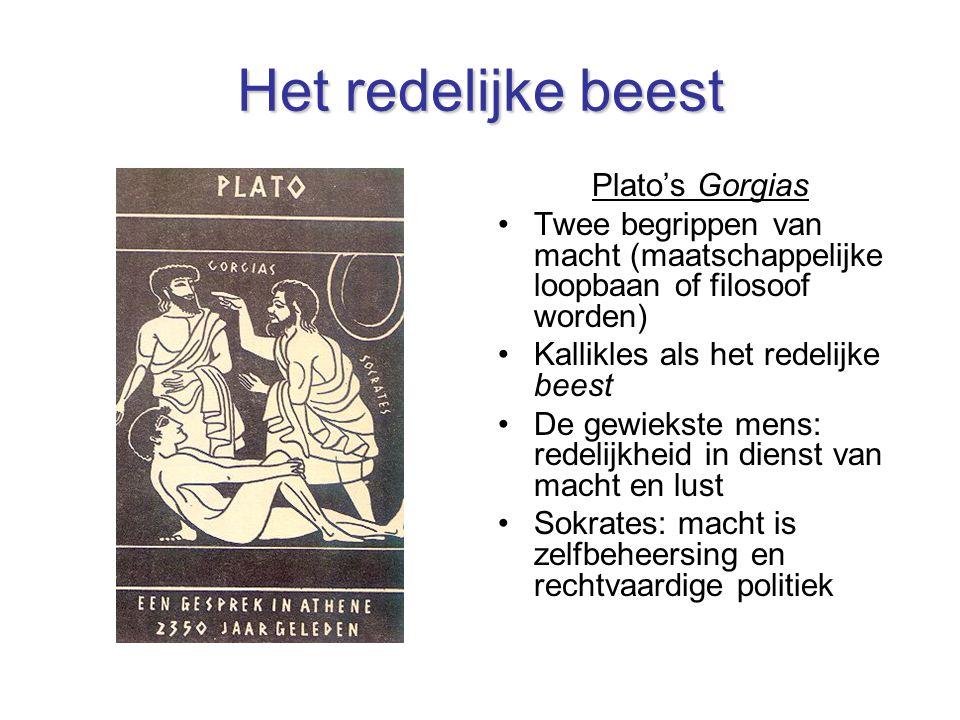 Het redelijke beest Plato's Gorgias Twee begrippen van macht (maatschappelijke loopbaan of filosoof worden) Kallikles als het redelijke beest De gewiekste mens: redelijkheid in dienst van macht en lust Sokrates: macht is zelfbeheersing en rechtvaardige politiek