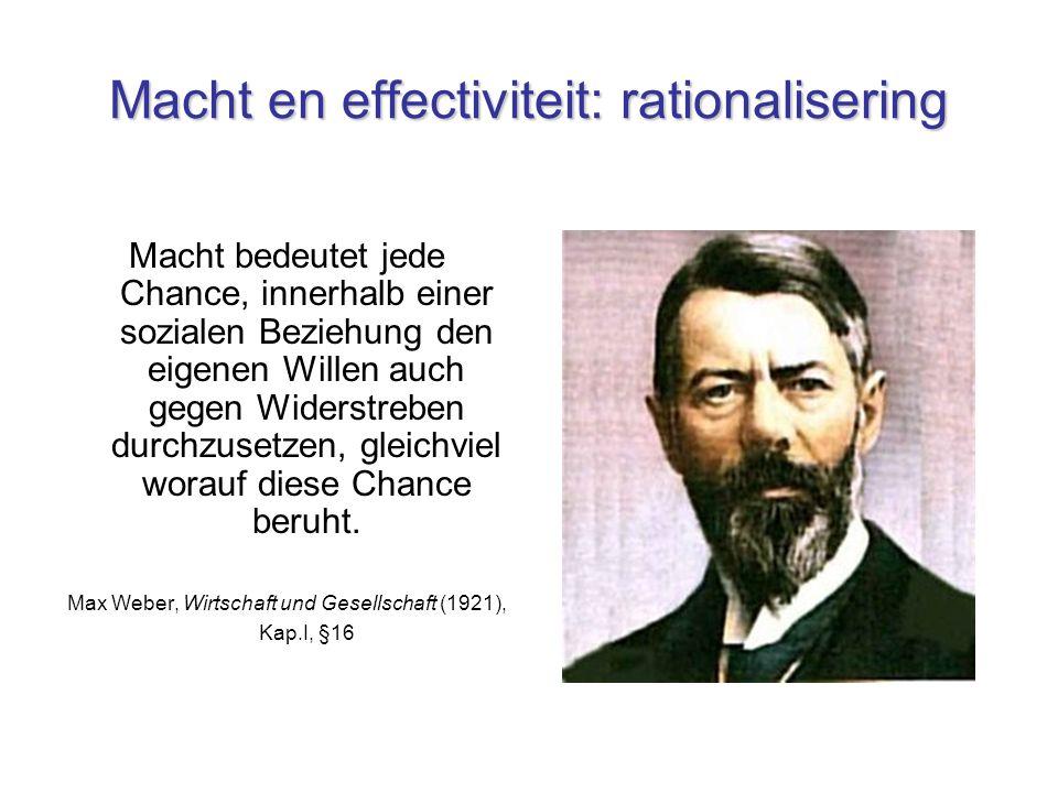 Macht en effectiviteit: rationalisering Macht bedeutet jede Chance, innerhalb einer sozialen Beziehung den eigenen Willen auch gegen Widerstreben durchzusetzen, gleichviel worauf diese Chance beruht.