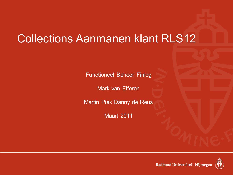 RLS12: Algemeen Wat zijn de grote wijzigingen in RLS12: Tax: belastingen Crediteuren en debiteuren stamgegevens in één structuur Tussen subadministratie en grootboek een extra laag: subledger accounting Meerdere bedrijfsonderdelen te benaderen in één autorisatie: MOACC Aanmanen debiteuren: nieuwe oracle module: Collections (inningen) Login scherm: the blue one/favorieten/mappen Wat zijn de uitgangspunten: Isofunctioneel: de functionaliteit van RLS11 is overgenomen in RLS12.