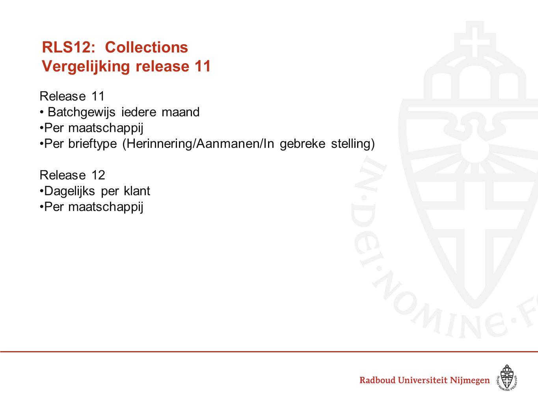 RLS12: Collections Vergelijking release 11 Release 11 Batchgewijs iedere maand Per maatschappij Per brieftype (Herinnering/Aanmanen/In gebreke stelling) Release 12 Dagelijks per klant Per maatschappij
