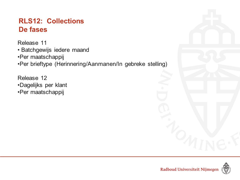 RLS12: Collections De fases Release 11 Batchgewijs iedere maand Per maatschappij Per brieftype (Herinnering/Aanmanen/In gebreke stelling) Release 12 Dagelijks per klant Per maatschappij