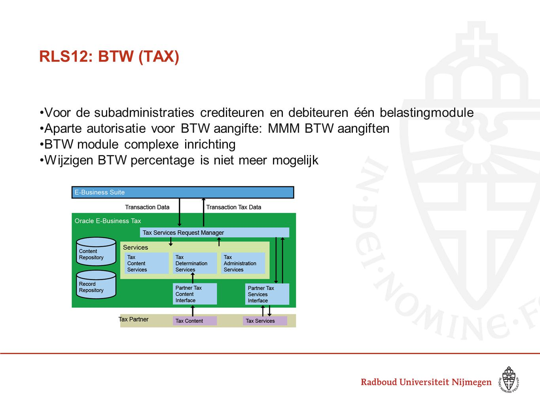 RLS12: BTW (TAX) Voor de subadministraties crediteuren en debiteuren één belastingmodule Aparte autorisatie voor BTW aangifte: MMM BTW aangiften BTW m