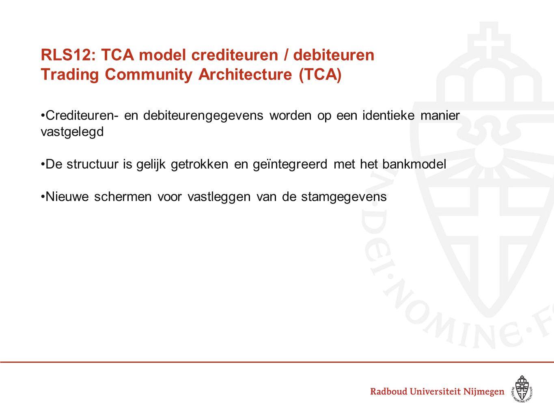 RLS12: TCA model crediteuren / debiteuren Trading Community Architecture (TCA) Crediteuren- en debiteurengegevens worden op een identieke manier vastg