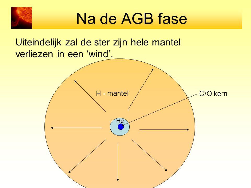 Na de AGB fase Uiteindelijk zal de ster zijn hele mantel verliezen in een 'wind'. H - mantel He C/O kern