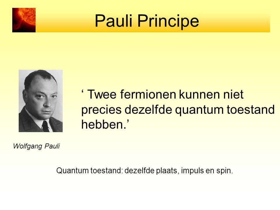 Wolfgang Pauli ' Twee fermionen kunnen niet precies dezelfde quantum toestand hebben.' Pauli Principe Quantum toestand: dezelfde plaats, impuls en spi
