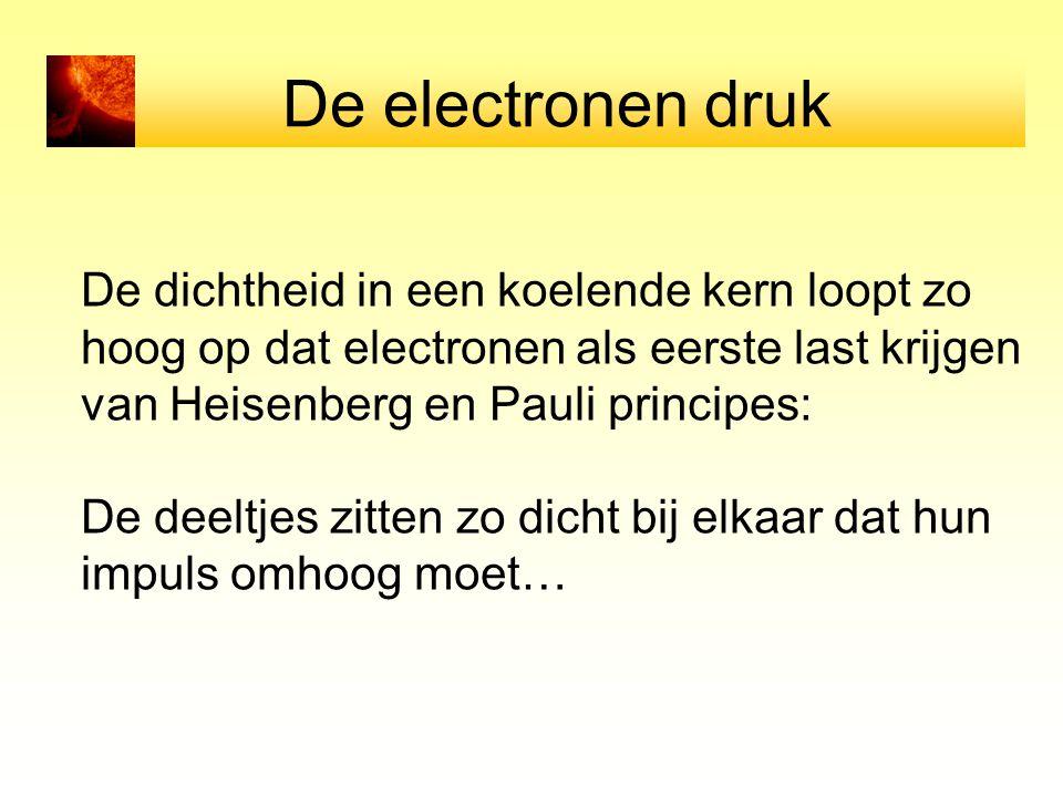 De dichtheid in een koelende kern loopt zo hoog op dat electronen als eerste last krijgen van Heisenberg en Pauli principes: De deeltjes zitten zo dic