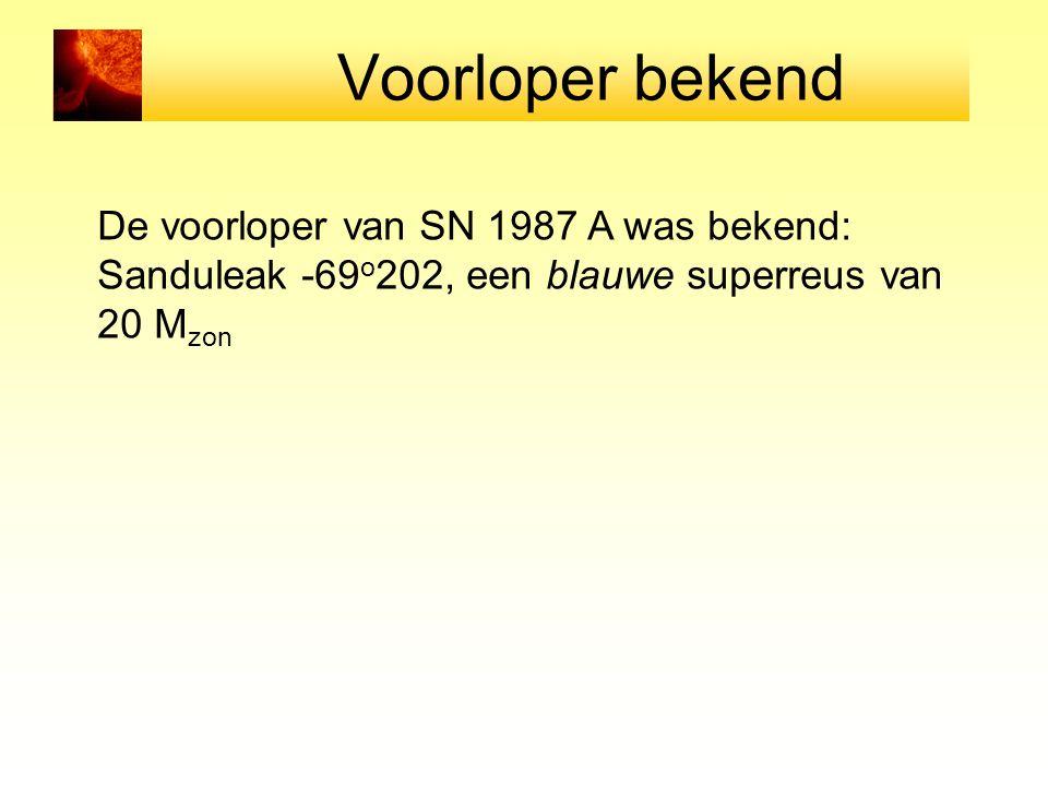 Voorloper bekend De voorloper van SN 1987 A was bekend: Sanduleak -69 o 202, een blauwe superreus van 20 M zon