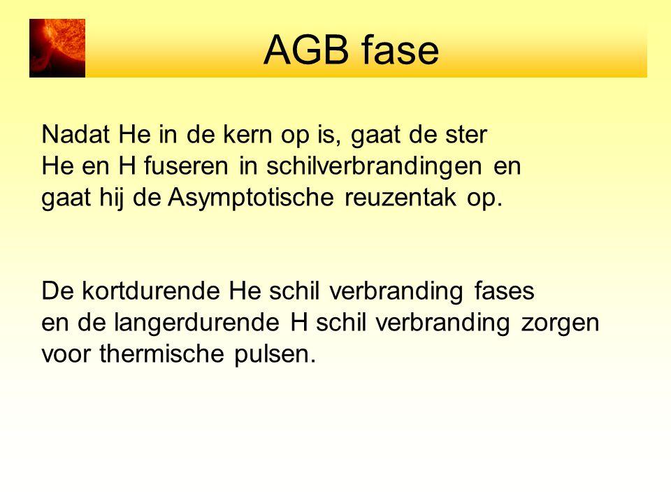 AGB fase Nadat He in de kern op is, gaat de ster He en H fuseren in schilverbrandingen en gaat hij de Asymptotische reuzentak op. De kortdurende He sc