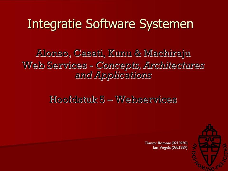 Webservices en EAI (1) Webservices als entrypoint Webservices als entrypoint Functionaliteit vinden en benaderen op gecontroleerde manier Functionaliteit vinden en benaderen op gecontroleerde manier Wrapper Wrapper