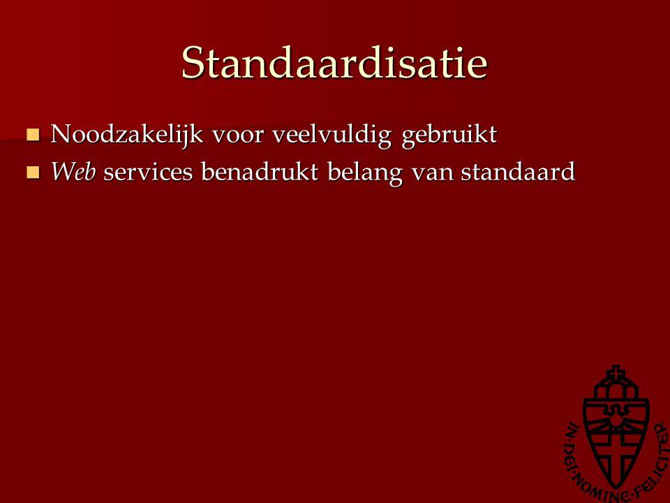 Standaardisatie Noodzakelijk voor veelvuldig gebruikt Noodzakelijk voor veelvuldig gebruikt Web services benadrukt belang van standaard Web services b