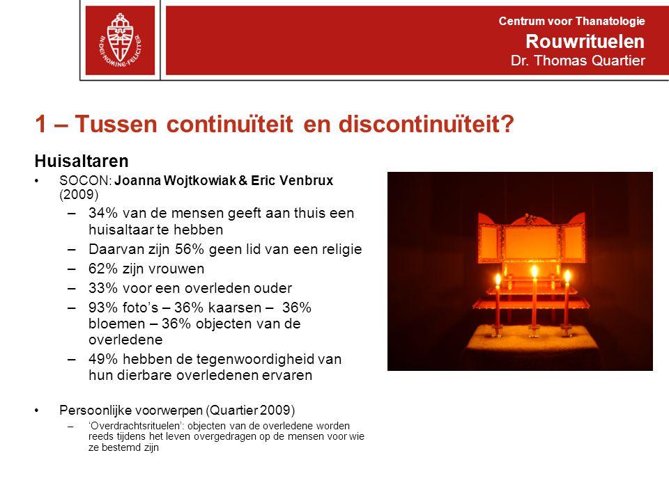 1 – Tussen continuïteit en discontinuïteit? Huisaltaren SOCON: Joanna Wojtkowiak & Eric Venbrux (2009) –34% van de mensen geeft aan thuis een huisalta