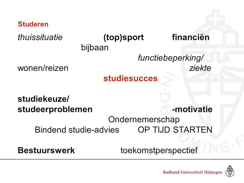 Studeren thuissituatie(top)sportfinanciën bijbaan functiebeperking/ wonen/reizenziekte studiesucces studiekeuze/ studeerproblemen-motivatie Ondernemer