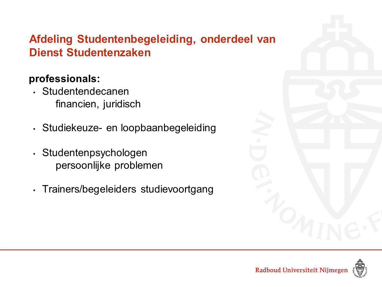 Afdeling Studentenbegeleiding, onderdeel van Dienst Studentenzaken professionals: Studentendecanen financien, juridisch Studiekeuze- en loopbaanbegele
