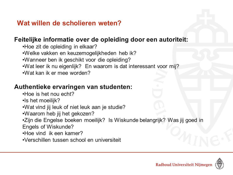 Wat willen de scholieren weten? Feitelijke informatie over de opleiding door een autoriteit: Hoe zit de opleiding in elkaar? Welke vakken en keuzemoge
